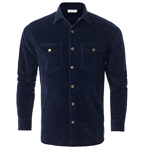 - Chain Stitch Mens Long Sleeve Thick Corduroy Shirt Casual Button Down Jackets Navy Blue Medium