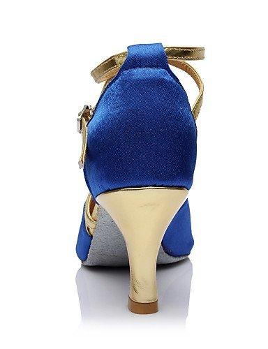 Latin Maßgefertigter Tanzschuhe Damen Blue Absatz ShangYi Satin Anpassbar 4qOxAXxwzf