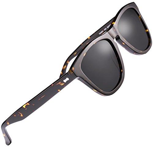 Carfia Vintage Polarized Mens Sunglasses 丨Designer Sunglasses with Case丨100% UV400 Protection (Grey Lens-2) by Carfia