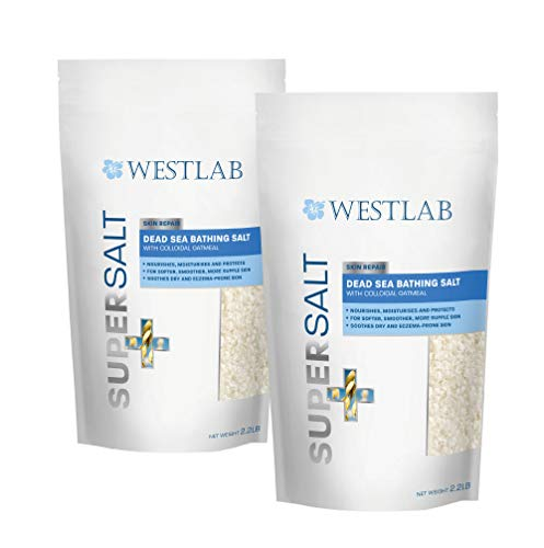 Dead Sea Salt SuperSalt (2 Pack) with Colloidal Oatmeal, Lavender and Chamomile - Skin Repair. Soothing for Dry, Itchy Skin. Foot Soaking & Relaxation.