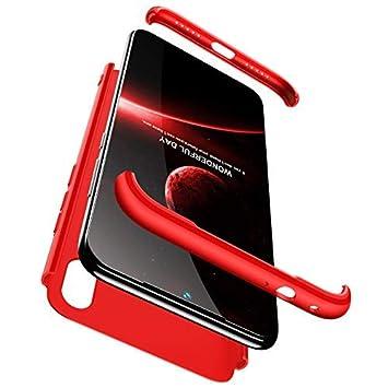 hyujia Compatible Xiaomi Redmi Note 7 Funda(2018) Carcasa 360° Ultra Fina Protectora cojín+Vidrio Templado Pantalla Protector,3 in 1 PC Hard Caja Caso ...