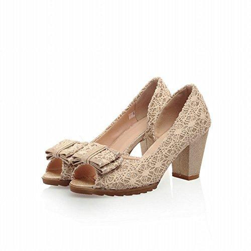Peep Dress Pumps toe Dorsay Chunky Womens Heel Shoes Pumps Latasa Fashion Beige Shoes High Bow wZqPn7t