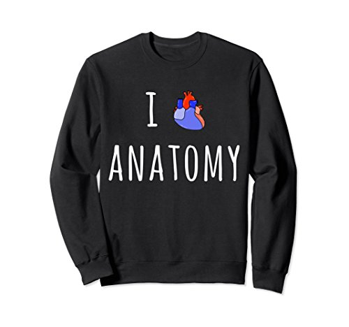 Unisex I Love Anatomy Heart Diagram Nerd Student Crew Sweatshirt Small Black for $<!--$36.99-->