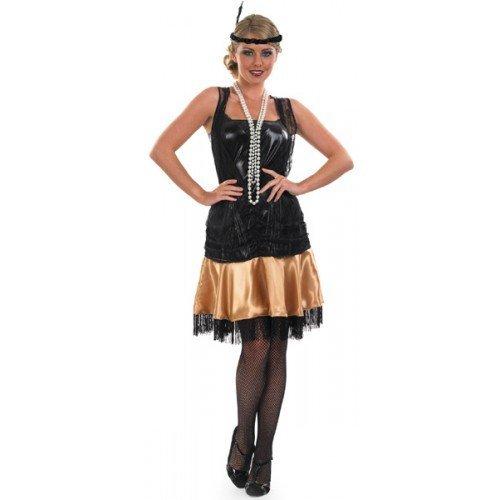 c679fe0dfc87f da Donna Nero Oro Anni  20 Anni 30 MASCHIETTA Ragazza Charleston Miele  Gatsby Costume Vestito