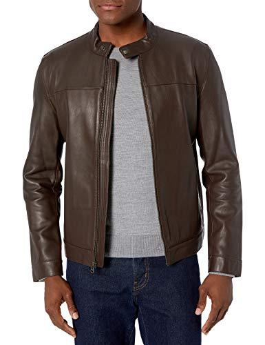 Cole Haan Men's Bonded Leather Moto Jacket, Dark Brown, XX-Large