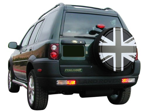 35'' Rigid Tire Cover - (Hard Plastic Face & Vinyl Band) - Pewter Union Jack by Boomerang (Image #4)