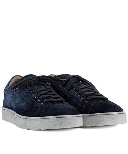 Sneakers In Pelle Scamosciata Blu Santoni Uomo Mbgu20374pasmj0du60