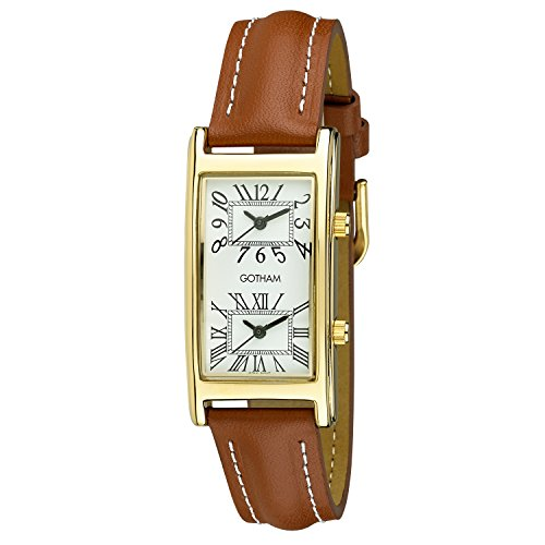 Gotham Unisex Gold-Tone Dual Time Zone Leather Strap Watch # - Time Dual Strap