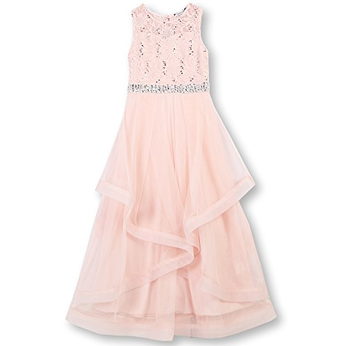 Speechless Girls' Big 7-16 Tween Maxi Dress with Wide Ribbon Hem Formal Dance and Party, Blush, 10 -