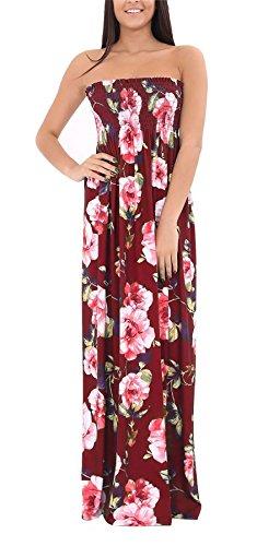 Maxi Wine Floral Sheering Women Fancy Maxi Ladies Strapless Dress Boobtube Bandeau Long WaTqFYw4