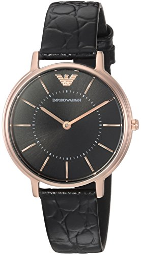 Emporio Armani Women's 'Dress' Quartz Stainless Steel and Leather Casual Watch, Color:Black (Model: AR11064)