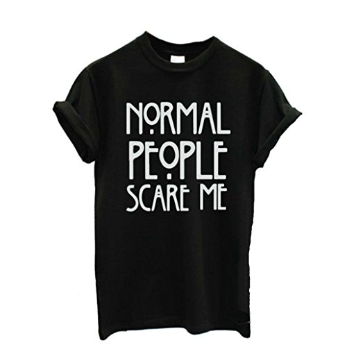 "Perman ""Normal People Scare Me"" Women Short Sleeve Casual Cotton Tee Shirt Tops (XXL, Black)"