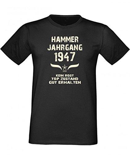 Lustiges Shirt - Hammer Jahrgang 1947 - bedrucktes T-Shirt mit Spaß Motiv als Geschenk zum Geburtstag in Schwarz