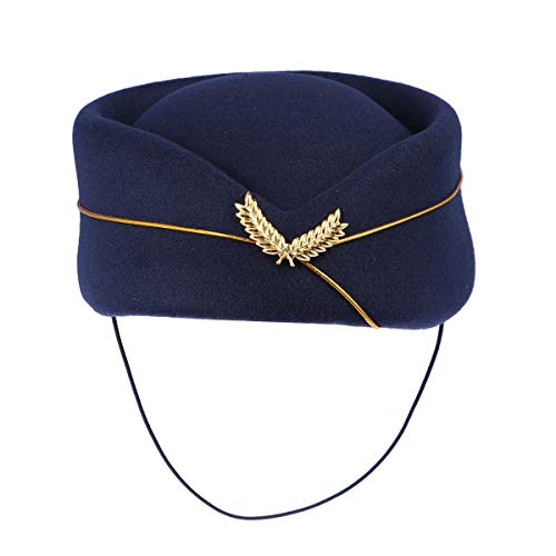 BESTOYARD Women Air Stewardess Hat Woolen Flight Attendant Hat Stewardess Cap for Costume Cosplay Musical Performance - Size M(Navy Blue)