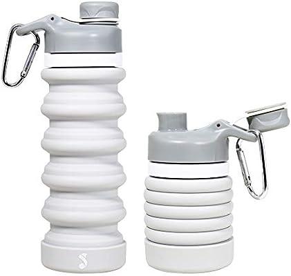 1dc5f9aca360 sunyou Portable Collapsible Water Bottle - Leak Proof Twist Cap Food ...