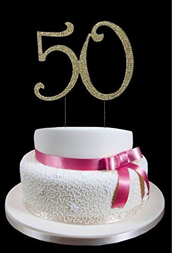 Large Gold 50th Birthday Wedding Anniversary Number Mis Quince Cake Topper with Sparkling Rhinestone Crystals - 4 1/2