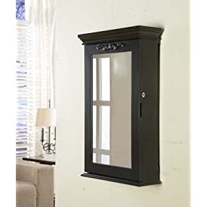 Nathan Direct Morris Lockable Wall-Mount Jewelry Armoire with Ring Holders, Earring Hooks, Necklace Hooks, and Compartments, Black