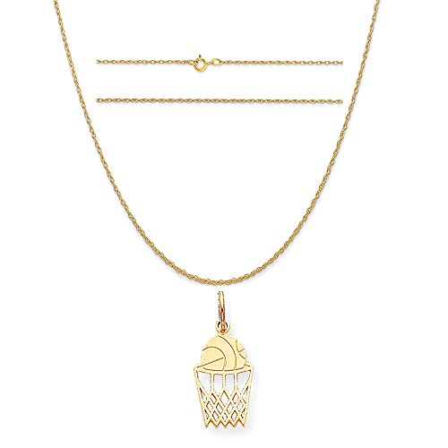 K&C 10k Yellow Gold Basketball Charm on a 14K Yellow Gold Carded Rope Chain Necklace, 16