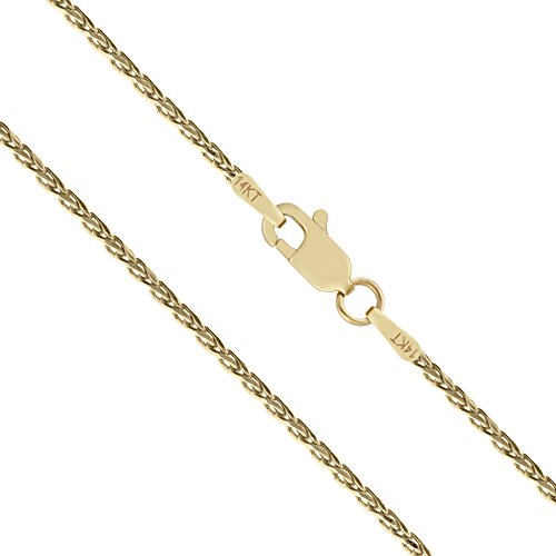 14K Solid Yellow Gold 1mm Spiga Wheat Diamond Cut Chain Necklace - 16 Inches (Yellow Gold Chain Spiga)