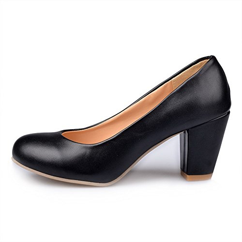 WeiPoot Womens Closed Round Toe Kitten Heel Chunky Heels PU Soft Material Solid Pumps, Black, 10 B(M) US