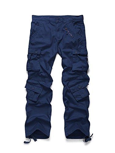 OCHENTA Men's Cotton Military Cargo Pants, 8 Pockets Casual Work Combat Trousers #3357 Dark Blue 40 ()
