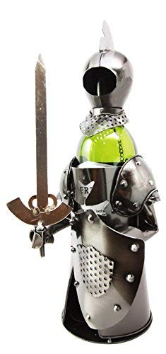 (Medieval Suit of Armor Knight Hand Made Metal Wine Bottle Holder Caddy Decor)
