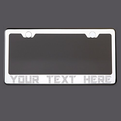 ENVOY Customized Personalized Laser Engraved Etched Polish Chrome T304 Stainless Steel License Plate Frame Holder Front Or Rear Bracket with Aluminum Screw Cap