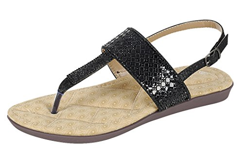 Cambridge Select Womens T-Strap Thong Crystal Rhinestone Glitter Slingback Flat Sandal Black D5fVH69b