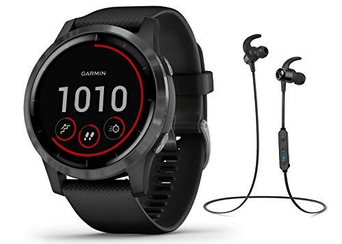Garmin Vivoactive 4 schlanke, wasserdichte GPS-Fitness-Smartwatch mit Trainingsplänen & animierten Übungen, Schwarz + BT…