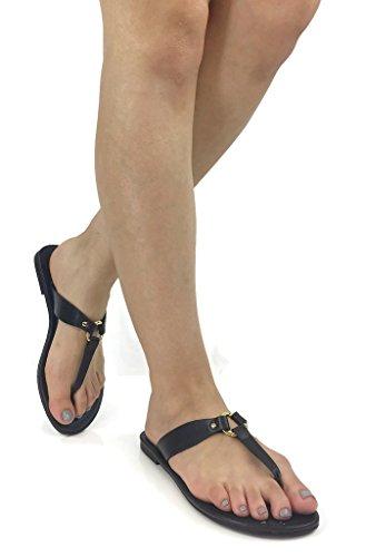 Stad Geclassificeerd Womens Basic Casual Gladiator Sandalen Flip Flops Flats Zwart