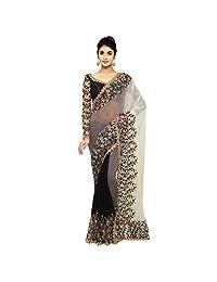 Aksaa Fashion Women's Indian Black Border Worked Chiffon Festive Saree, Sari