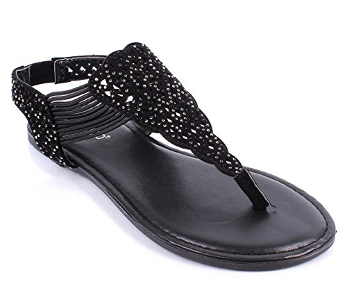 Without Strappy On Box Black Size Only Shoes Slip Flats Womens Strap T BAMBOO Sandals xPHq1ZnX