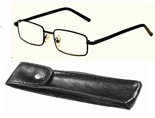 - Mens Compact Reading Glasses Ace with Leatherette Case & Spring Hinges (1.50 Diopter Strength)