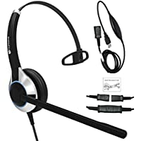 TruVoice HD-500 Deluxe Single Noise Canceling Office / Call Center Headset With Detachable USB Bottom cable Included (For USB Softphones, Laptops and Computers) Skype Compatible