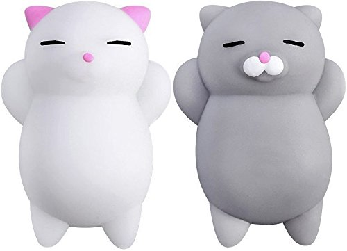Nutty Toys Squishy Cat Set + Free Sticker - 2 Soft Silicone Kawaii Kitty Squishies - Top Stress Relief &...