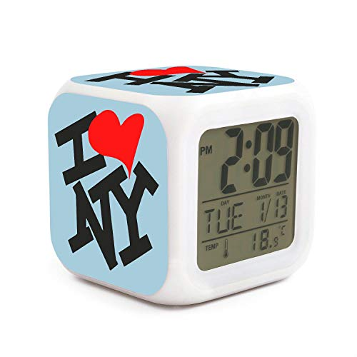 JWOJJUAW Wake Up I Heart NY I Love New York Dimmer Snooze LED Nightlight Bedroom Desk Travel Digital Alarm Clock for Kids Girls