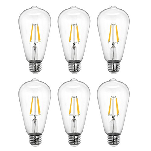 Tenergy Dimmable Edison Bulbs 4W LED Filament Bulbs (40 Watt Equivalent), Soft White (2700K), ST64 Bulbs, E26 Medium Standard Base Decorative Light Bulbs for Ceiling Light Fixtures (Pack of 6)