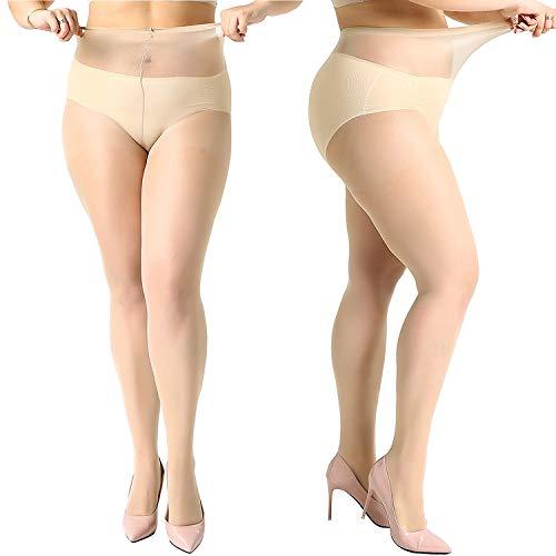 MANZI 4 Pairs Women's 20 Denier Sheer Plus Size Pantyhose Tights