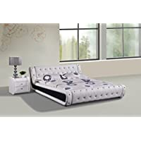 Container Direct Dorian Collection Faux Leather Diamond Tufted Platform Bed with Built In Headboard, White, Queen