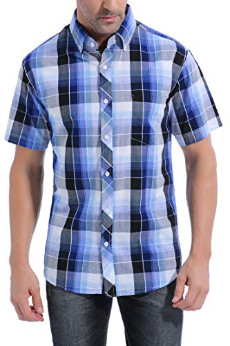 Coevals Club Men's 100% Cotton Plaid Short Sleeve Casual Button Down Shirt (#7Blue Plaid, L)