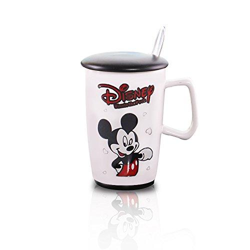 Finex   Random   Mickey Mouse 12Oz White Coffee Mug Cup Black Lid Set With Spoon