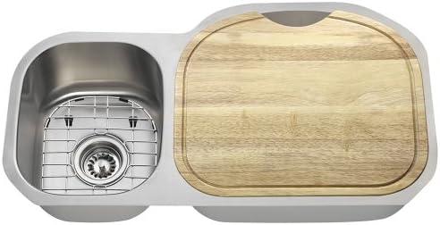 The Polaris Sinks PR105 16 Gauge Kitchen Ensemble Bundle – 6 Items Sink, 2 Standard Strainers, 2 Sink Grids, and Cutting Board
