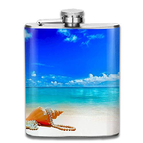 Laki-co Pearl Necklace Shell Hip Flask for Liquor Stainless Steel Bottle Alcohol 7oz -