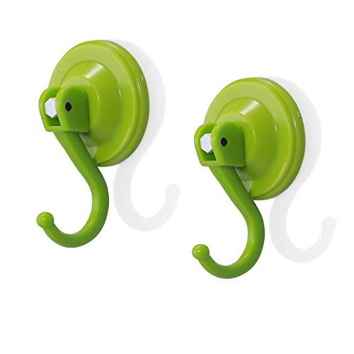 Togu NC60-2105-GN ABS Rubber Surpass Normal Thickness Suction Cup Hook Super Strong Heavy Duty Removable/Reusable Suction Hooks for Bathroom&Kitchen,Green,2pcs by Togu