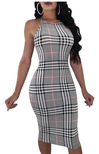 Midi Gery Sleeveless Casual Jaycargogo Sexy Office Work Bodycon Dresses Women's PIwxSgqZ