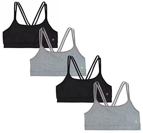 Price comparison product image 'B.U.M. Equipment Girls Racerback Sports Bra with Fishnet Insert in Back, 4 Pack , Black/ Grey, Small / 6-6X'