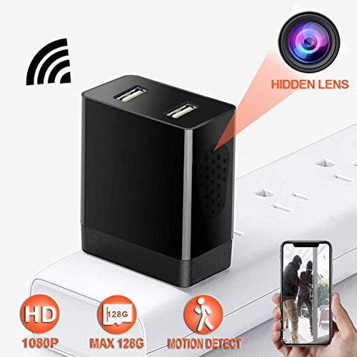 (Spy Camera - Wireless Hidden Camera with Remote Viewing & Motion Detection for Outlet/Power Strip Security Surveillance - HD 1080P USB Charger Camera with H.264 - No Audio)