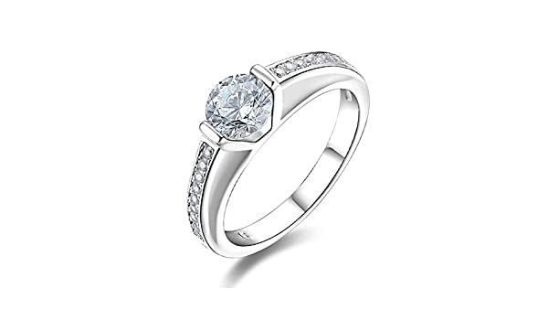 HCBYJ Lady ring 0.5ct Cubic Zirconia Single Stone Ring Wedding Ring 925 Sterling Silver CZ Eternal Ring Womens Female Ring