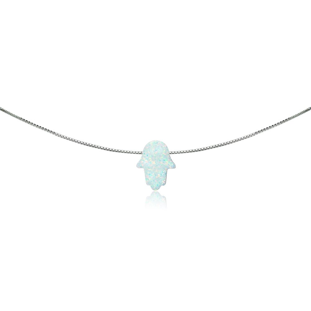GemStar USA Sterling Silver Created White Opal Hamsa Hand of Fatima Dainty Choker Necklace