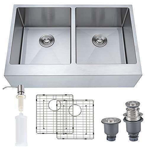 "MOWA MOWA HAD33DE 33"" x 21"" Farmhouse Apron Front 50/50 Double Luxury Kitchen Sink, 16 Gauge Stainless Steel Kitchen Sink w/Basket Strainers, Sink Grids and Bonus Soap Dispenser price tips cheap"